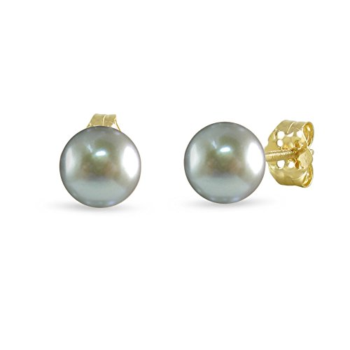 14K Yellow Gold Cultured Freshwater Pearl Silver Gray 8 - 8.5mm Button Stud Earrings Screw Back