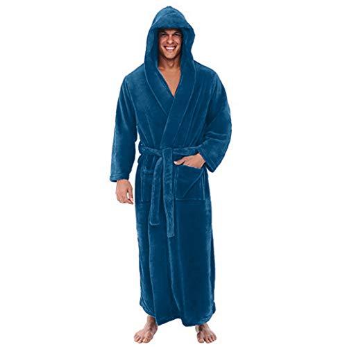 (dumanfs Men's Winter Plush Lengthened Shawl Bathrobe Home Clothes Hooded Long Sleeved Robe Coat)
