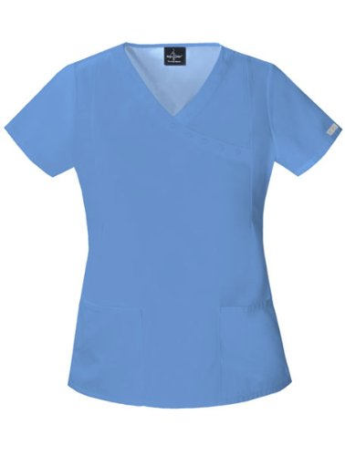 (Baby Phat 26908 Women's Solids Mock Wrap Scrub Top Ceil)