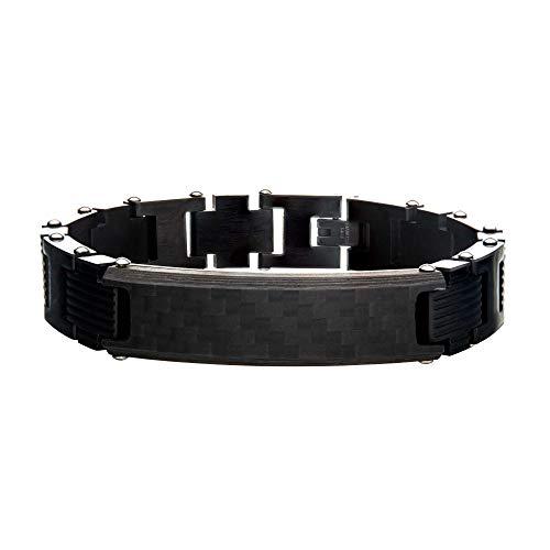 (INOX Men's Stainless Steel Black Solid Carbon Fiber Bracelet with Self-Adjustable Link. 8.75 inch Long)