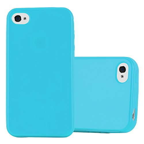 Cadorabo Case Works with Apple iPhone 4 / iPhone 4S in Jelly Light Blue - Shockproof and Scratch Resistant TPU Silicone Cover - Ultra Slim Protective Gel Shell Bumper Back Skin (Light Green Iphone 4s Case)