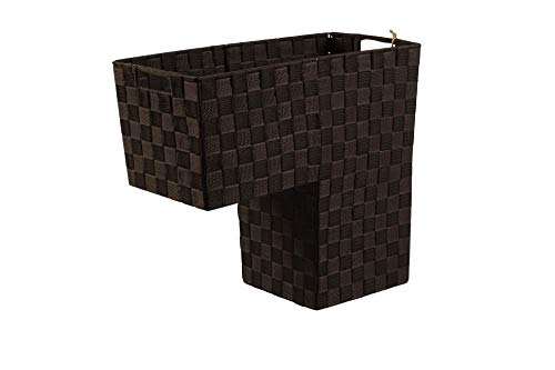 (HomeModele Step Basket Stair Storage Basket Organizer with Handles Nylon-Woven (Black) (Brown))