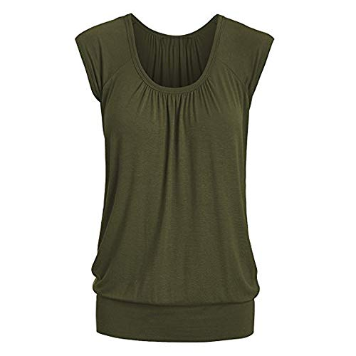 Aniywn Women Round Neck Ruffled Short Sleeve Blouse Solid Color Ruched Irregular T-Shirt Tops Army -