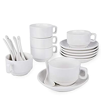 Espresso Cups with Saucers and Spoons, Demitasse Cups, Fine White Porcelain, Stackable Espresso Coffee Sets- for Specialty Coffee Drinks, Latte, Cafe Mocha and Tea