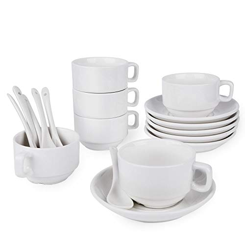 18-Piece Espresso Cups with Saucers and Spoons, 3oz Demitasse Cups, Fine White Porcelain, Stackable Espresso Coffee Mug Sets- for Specialty Coffee Drinks, Latte, Cafe Mocha and Tea-Set of 6 Cup & Saucer Spoon