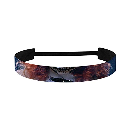 C COABALLA Queen Simple Sports Headband,Queen of Death Scary Body Art Halloween Evil Face Bizarre Make Up Zombie for Sports,15