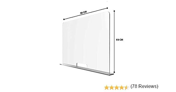 Solarplexius Mamparas de Protección, Escudo de Acrílico Transparente Plexiglass para Mostradores y Ventillas de Transacciones, Protección contra Estornudos y Tos (90 x 60 cm): Amazon.es: Hogar