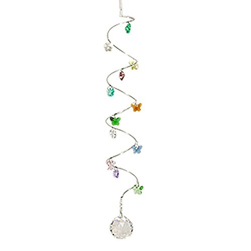 Spiral Crystal Mobile - Butterflies - 12 inches with 30mm Crystal Ball - Butterfly Figurine - Rainbow Maker - Crystal Suncatcher - Home, Living Room, Bedroom, Kitchen, Car Decoration - Porch Decor - Sun Catcher - Hangings Crystal Glass Ornament