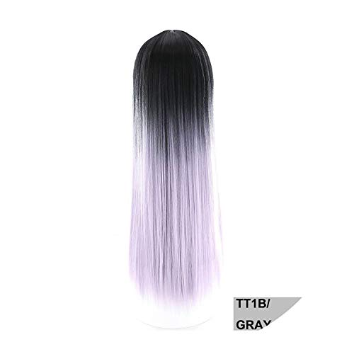 Wigs Black Gray Purple Synthetic Wigs With Bangs High Temperature Fiber Long Silky Straight Hair Cosplay Wig For Women,Tt1B-Gray Purrle,26Inches -
