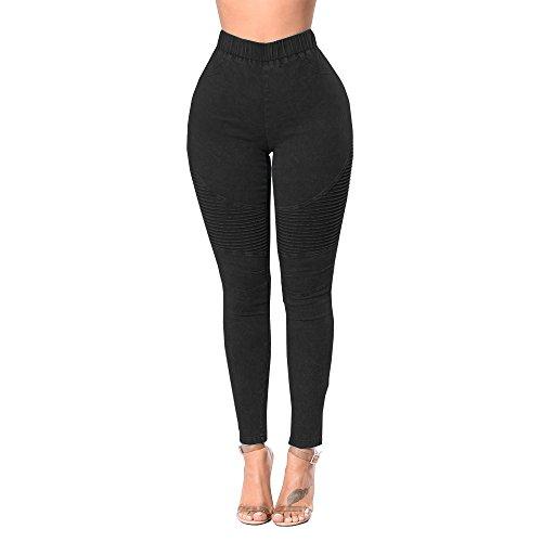 Hibote Jegging Femme Push Up Jeans Avec Poches Pantalon Taille Haute Leggings Skinny Pantalon Treggings Solide Couleur Jeans 4 Couleurs S M L XL 2XL Noir