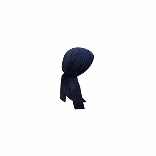 OccuNomix Navy Blue Tuff Nougies 100% Cotton Doo Rag Tie Hat With Plastic Hook Closure And Holographic Hangtag