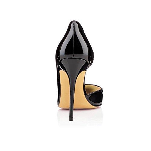 uBeauty Damen Stilettos Slip On Klassische Seite Hohl Pumps High Heels Übergröße Glitzer Schuhe Schwarz Lackleder