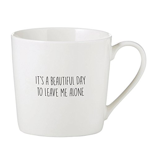 SIPS Drinkware It's A Beautiful Day Cafe Mug Bone China Coffee Cup, 14 Ounce