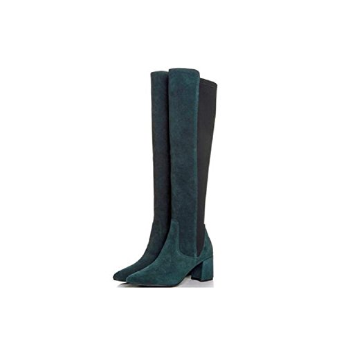 Stylish Stitching Elastic Stretch Boots Thigh High Over The Knee Women's Bootie DARKGREEN-38 gbBeZIP