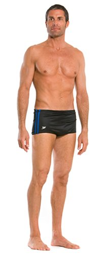 - Speedo Men's Poly Mesh Square Leg Swimsuit, Black/Blue, 36