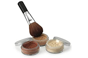 4 Pc kit with Brush Mineral Makeup Set Bare Skin Sheer Powder Full Size Foundation Cover (Fair Shade 2)