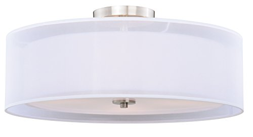 "Vhomes Light Nuage 24"" Semi-Flush Ceiling Satin Nickel"
