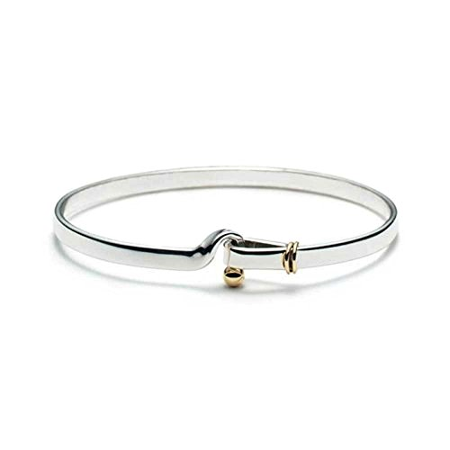 Bling Jewelry Gold Plated Sterling Silver Hook and Eye Bangle Bracelet 7in