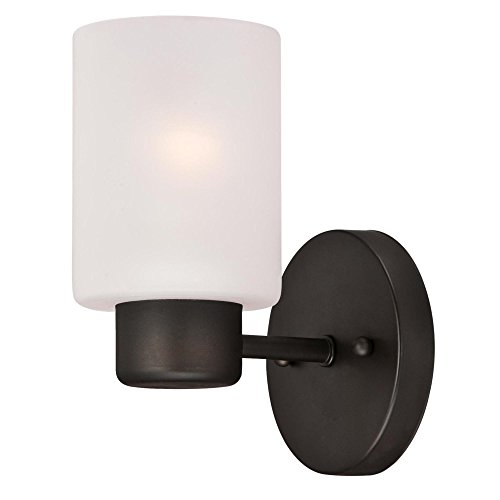 (Westinghouse Lighting 6354000 Sylvestre One-Light Indoor, Oil Rubbed Bronze Finish with Frosted Glass Wall Fixture, 1, ORB)