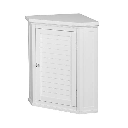 Elegant Home Fashions Sicily Corner Wall Cabinet with 1 Shutter Door, White (Lower Corner Cabinet)