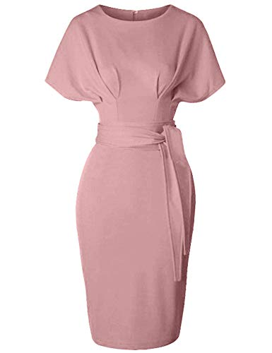 (GownTown Women's 50s 60s Vintage Sexy Fitted Office Pencil Dress Pink)