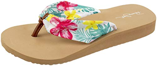 Panama Jack Womens Sandal, Ladies Beach to Bar Floral Flip Flop Sandals, Women's Size 6 to 11 (Small / 6-7 D(M) US, White Floral) ()