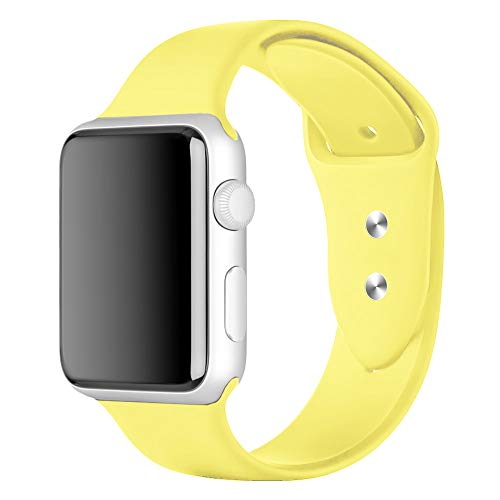 YunTree Compatible with Apple Watch Band 42mm/44mm S/M Size iWatch Sports Band Replacement for Women Man Apple Watch Series 4/3/2/1 Size Comfortable Silicone Strap-Yellow