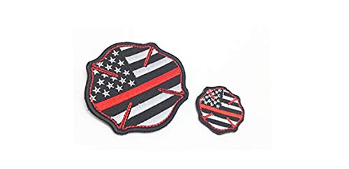 - 2X Firefighter Thin Red Line United States Flag Patch Fire & Rescue EMT EMS sew-on only Patch (no Glue no Hook Backing)