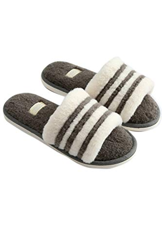 Toe Slippers Open House Cozy Plush Anti Zinmuwa Slip Womens Grey Slippers x7wI4Eqg