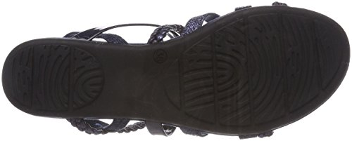 Marco Tozzi Women's 28123 Sling Back Sandals, Silver, 4 UK Blue (Navy Met.comb 844)