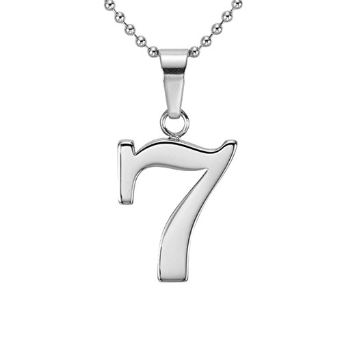 9 Pendant Sterling Silver Jewelry (HACOOL Personalized 925 Sterling Silver Number 0-9 Character Pendant Necklace Jewelry (Seven))