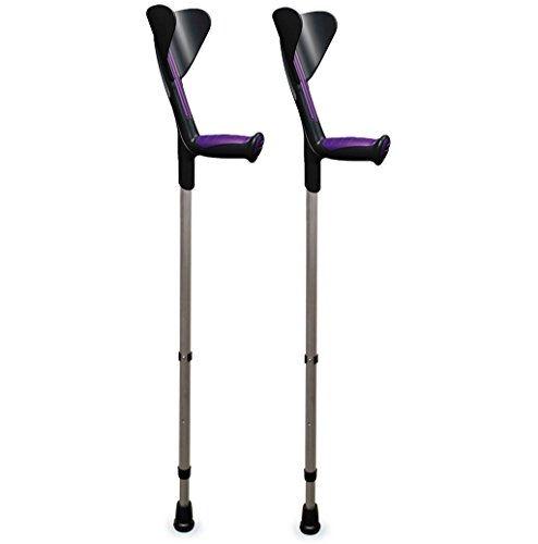 ORTONYX Forearm Crutches 1 Pair - Ergonomic Handle with Comfy Grip - High Density Sturdy Aluminum - 308lb Max / 200915