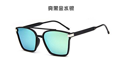 sol GLSYJ retro gafas personalidad sol black la la Box de haz gran de Colorido trama gafas gafas de gafas doble Bright sol gold LSHGYJ Fwt6qt