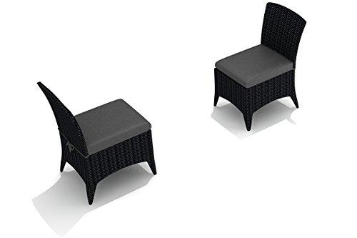(Harmonia Living HL-AR-CB-DSC-CC Arbor Dining Side Chair, Canvas Charcoal Cushion)