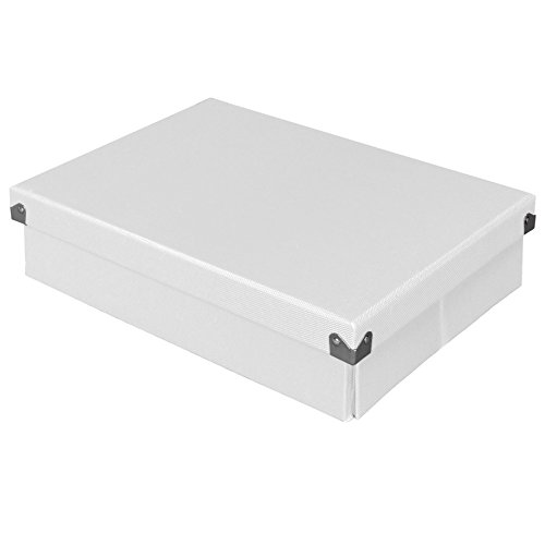 Pop n' Store Decorative Storage Box with Lid - Collapsible and Stackable - Document Box - White - Interior Size (12