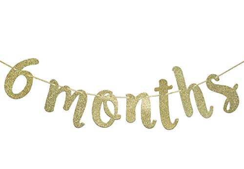 6 Months Banner Sign for 1/2 Birthday Garland Baby Shower Birthday Party Decor Cursive Bunting Decorations Gold Glitter