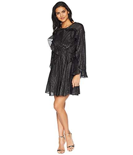 BCBGMAXAZRIA Women's Ruffle Lurex Cocktail Dress Black/Combo Medium (Bcbgmaxazria Dress Women)