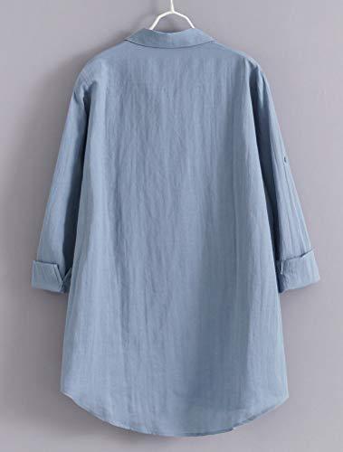 MatchLife dam linne blusar elegant lång ärm fritid topp lös långärmad tröja tunik skjorta med väskor