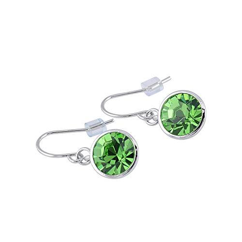 UPSERA Drop Dangle Earrings Made with Swarovski Crystals - Jewelry for Women Girls - Green Peridot