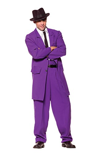 Underwraps Costumes Men's Purple Zoot Suit, Purple/White/Black, One Size]()