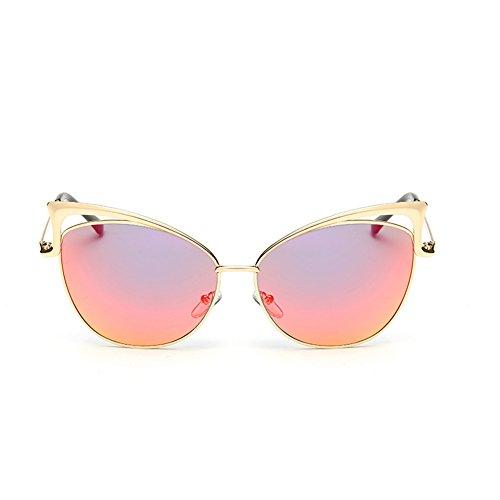 Barsty Fashion Metal Frame Flash Mirror Lens Cat Eye Sunglasses UV Protection UV400 - Protective Sunglasses Uv