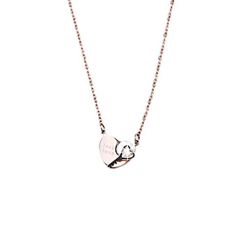 MYYQ. Women Necklace Pendant,Women's Titanium Steel Rose Gold Necklace Zircon Key Heart Pendant Jewelry Plating Jewelry for All Occasions -