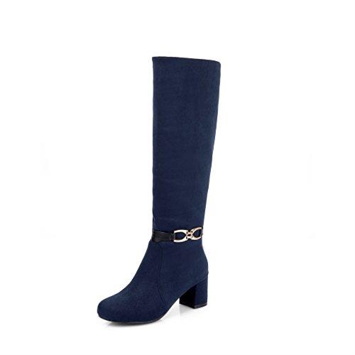 Xianshu al ginocchio heel Womens stivali alti Blu su Block messo Metal rqgnZfrx