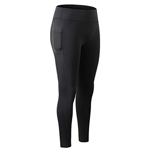 94eb07e2fff73 Women High Compression Yoga Pants Out Pocket Running Pants High Waist  Legging Black by Huitian23_yoga pants
