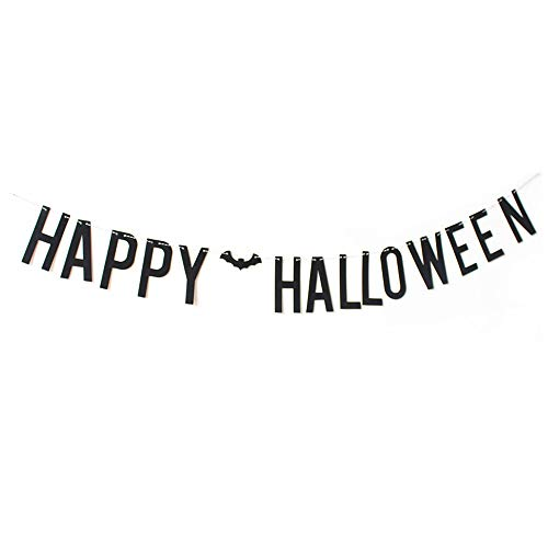 ASIDIY Black Glitter Happy Halloween Party Banner Bunting Signs (Black -