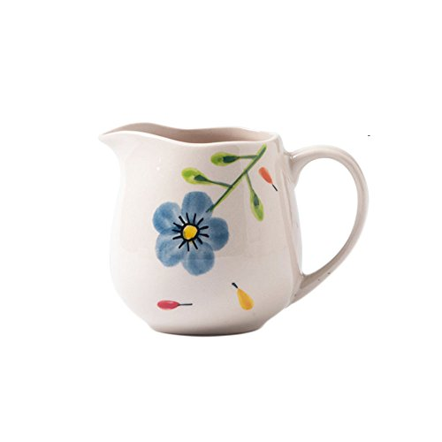 CHOOLD Floral Pattern Ceramic Creamer with Handle,Coffee Milk Creamer Pitcher Serving Pitcher Sauce Pitcher Milk Creamer Jug for Kitchen -