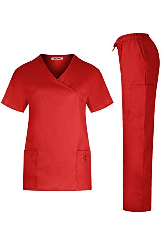 MEDPRO Women's Solid Medical Scrub Set Tie Back Wrap Top and Pants Dark Red M