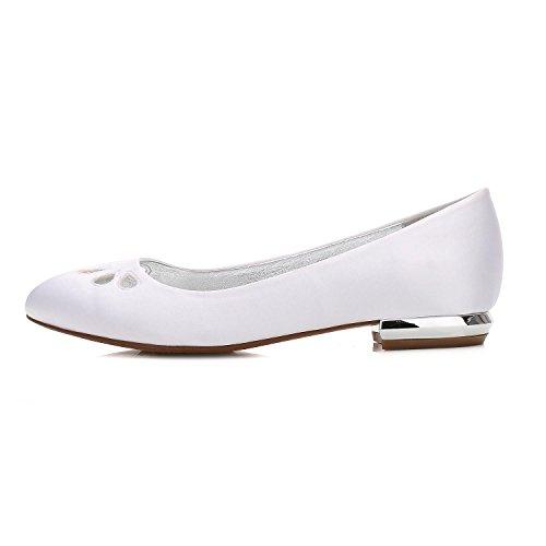 L 25 Dedo Moda Pie Por La 5049 yc Boda Acentuado Nueva Mujeres Silver Arco De Fiesta Pisos Bajo Las Zapatos Satén Del Noche PxrPR76q