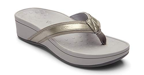 Vionic Women's Pacific High Tide Toepost Sandals - Ladies Mid Heel Flip Flops with Concealed Orthotic Support - Pewter 5M