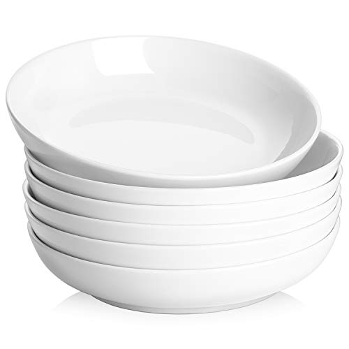 Y YHY 30oz Porcelain Pasta/Salad/Soup Bowls, Large Serving Bowl Set, Wide & Flat, Set of 6, White